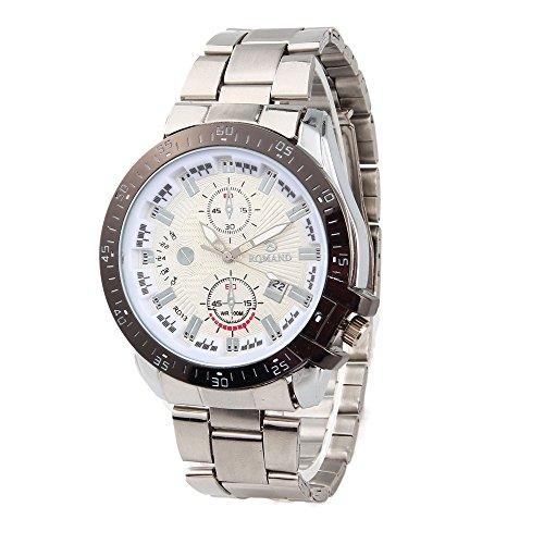 Männer Gold klassische analoge Quarz Edelstahl-Armbanduhr , 3