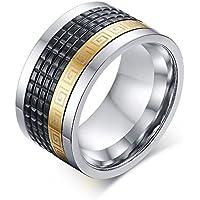 Girevole da uomo in acciaio INOX, colore: nero, goffratura e Greek Key-Anello per matrimonio Promise