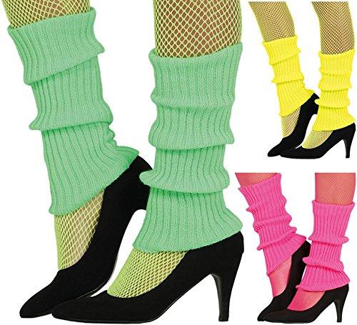 Guirca Sexy Neon Gelbe Bein Arm Stulpen für Damen Zum 80er Jahre Damenkostüm Fasching