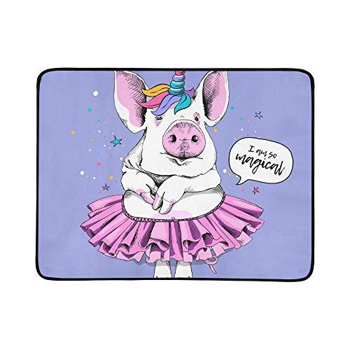 WYYWCY Nettes Schwein-Ballerina-Tutu-Einhorn-Masken-Muster-tragbare und Faltbare Deckenmatte 60x78 Zoll-handliche Matte für kampierenden Picknick-Strand (Comic Frau Kostüme)