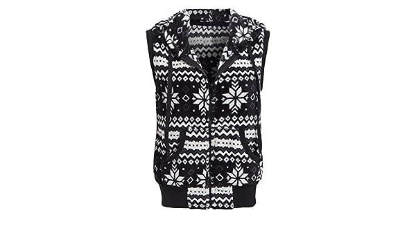 Femme Fair Isle Veste sans manches Femme Taille 8 10 12 gilet veste polaire noir