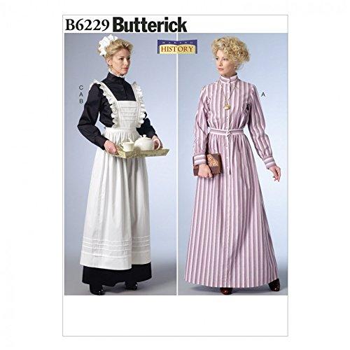 Butterick Schnittmuster 6229historischen Kleid, Schürze & Kopfbedeckung Kostüm