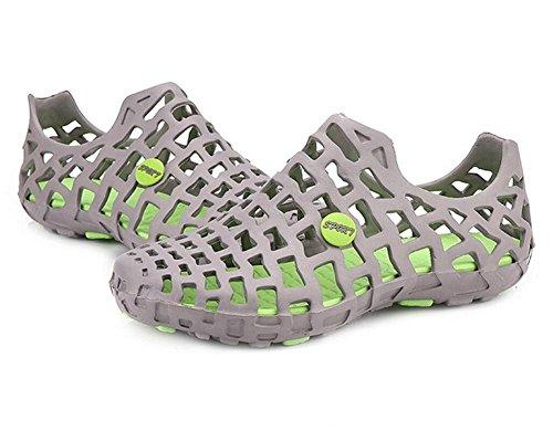 LDMB Sommer-Damen-flache hohle Loch-Schuh-Paare reine Farbe Breathable Strand-Sandelholze Grey