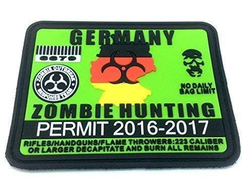 Patch Nation Deutschland Deutsch Zombie Hunting Permit PVC Airsoft Paintball Klettverschluss-Flecken Klett (Zombie-klett-patch)