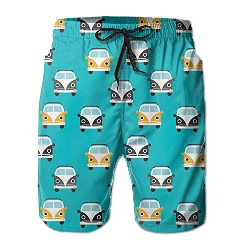 magic ship Colorful Bus Men's Beach Shorts with Pockets Quick Dry Summer Shorts Swim Trunks M