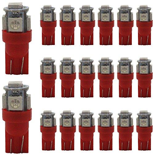 20-Pack 194 T10 Rotlicht 24V, 5 SMD 5050 Chipsatz Car Interior Ersatz W5W 168 175 158 2825 Glühbirne für Karte Dome Courtesy Trunk Nummernschild Dashboard Seitenmarkierungsleuchte