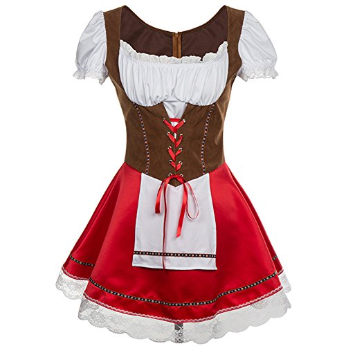 Maid Bar Kostüm (BSLINGERIE® Damen Karnival Kostüm Beer Bavarian Bar Maid Kleid (EU 42,)