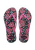 Havaianas Damen Flip Flops Slim Floral Grösse 43/44 EU ( 41/42 Brazilian) Schwarz/Orchid Rose Zehentrenner für Frauen