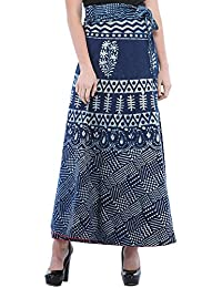 Exotic India True-Navy Wrap-Around Long Skirt From Pilkhuwa With Printed - Blue