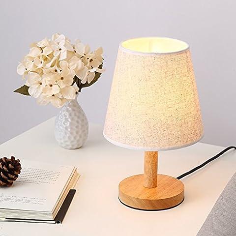 Ywyun Dimmbare LED-Lampe, europäische Holzenergiesparlampen, Nacht Studie Schlafzimmerbeleuchtung, 31 * 18cm ( Color : White )