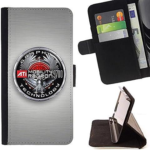 For Samsung Galaxy S4 Mini i9190 (NOT S4) Case , Grafica Badge - Portafoglio in pelle della Carta di Credito fessure PU Holster Cover in pelle case