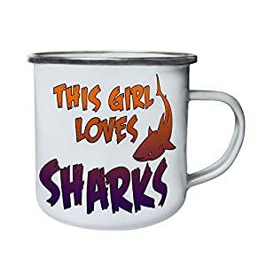 This Girl Loves Shark Retro,Tin, Enamel 10oz Mug aa101e