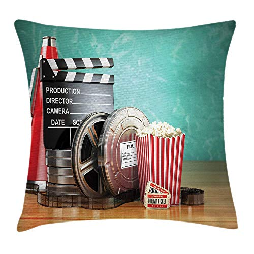 shengpeng Movie Theater Throw Pillow Cushion Cover, Production Theme 3D Film Reels Clapperboard Tickets Popcorn and Megaphone, Decorative Square Accent Pillow Case, 18 X 18 inches, Multicolor