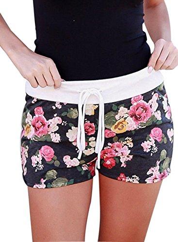 Aleumdr Damen Casual Sommer Shorts Blumen Print Kurz Hose Sport Hotpants Strandshorts Schwarz XX-Large (Shorts Spandex Print)