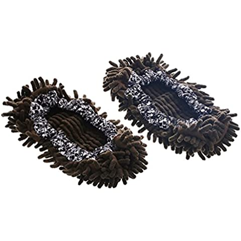 Sun lamps- Pulire il pavimento e trascinare il piano per pulire il pavimento per pulire il pavimento a secco Shoes Mop Pantofole Pantofole ( colore : Verde scuro )