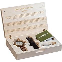LAiMER Geschenksbox mit Holzuhr Chronograph Mod. Cosmas in Zebranoholz Lederband von Hirsch und Geldklammer aus Holz | 100% Zebrano | Naturprodukt | Südtirol | Limitiert auf 1000 Stück