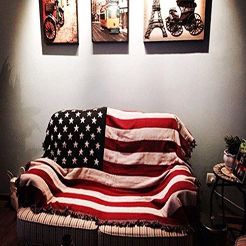 FJHLKJHGAEIRBH Coperta Peluche Siesta Pelliccia di Faux Coperta pigra Letto Divano 100% Cotone Bandiera Americana Warm Extra setosa Lightweight -A 230x250cm(91x98inch)