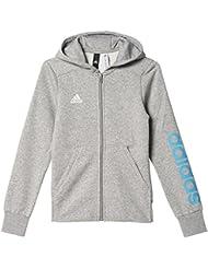 Adidas YG Linear FZ HD Sudadera, Niñas, Gris (Brgrin / Azuene), 170