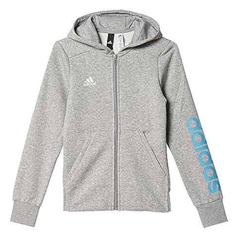 adidas Mädchen Linear Kapuzenjacke, Medium Grey Heather/Energy Blue, 140