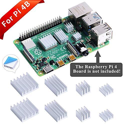 GeeekPi 8PCS Dissipateurs de Chaleur pour Raspberry Pi 4 Modèle B,Raspberry Pi Dissipateurs de Chaleur en Aluminium avec Ruban Adhésif Thermo-conducteur pour Raspberry Pi 4B