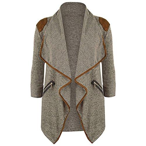 AIMEE7 Femmes Tricoté Décontracté à Manches Longues Tops Cardigan Veste Outwears Grande Taille Manteau (Khaki, M)