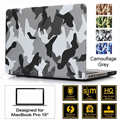 "AirPlus: AirCase - Premium Designer Series for Apple MacBook Pro 13 with DVD Writer (Models: A1278), Rubberized Hard Case/Hard Shell Cover for 13.3"" Satin Feel, Camouflage Series [Grey]"