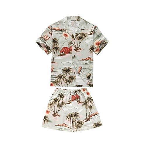 Made in Hawaii Luau Aloha Shirt und Kurz Junge Cabana Set Häuser Palmen Blumen Grau 2 (Cabana Kurz)