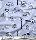 Soimoi Azul terciopelo Tela farola y el ciclo de cosecha texto tela estampada de por metro 58 Pulgadas de ancho