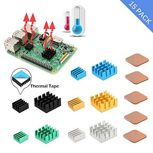 iUniker Raspberry Pi Kühlkörper, 15-teiliges Kühlkörper Kühlkit aus Aluminium und Kupfer mit wärmeleitendem Klebeband für Raspberry Pi 3 B+, Raspberry Pi 3 B, Pi 2 B, Pi 1
