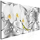 decomonkey   Bilder Abstrakt Blumen 100x40 cm   1 Teilig   Leinwandbilder   Bild auf Leinwand   Vlies   Wandbild   Kunstdruck   Wanddeko   Wand   Wohnzimmer   Wanddekoration   Deko   Diamenten glas modern silber Orchidee