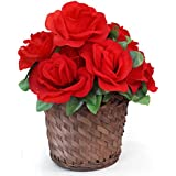 TIED RIBBONS Artificial Red Roses With Bamboo Bucket