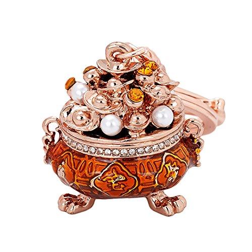 Traditionelle Wand-tasche (MAJGLGE Mahglge Traditionelle chinesische Schatzschale Schlüsselanhänger Glücksbringer Schlüssel Tasche Dekoration - Lila gelb)