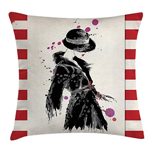 Urban Lab Coat (ZMYGH Fashion Throw Pillow Cushion Cover, Modern Woman in a Cool Coat with Watercolor Paintbrush Style Casual Urban Design, Decorative Square Accent Pillow Case Black Red 18x18inches)