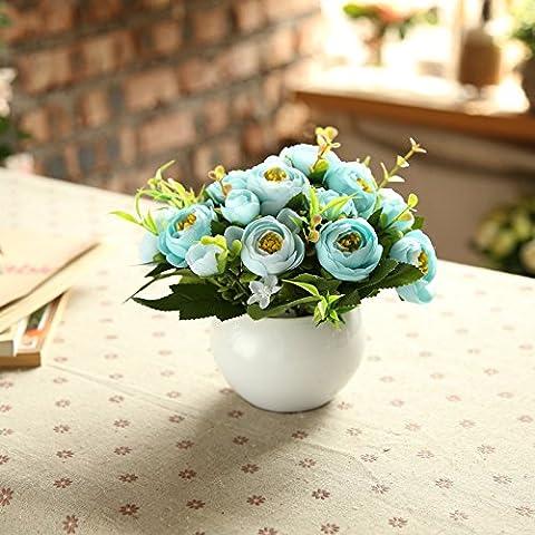 KXZZY Home Dekoration Ornamente Emulation Blume Mini Topfpflanzen eingerichtet Esstisch , Blume Honig Rose Blau (2), (Christmas Ribbon Clearance)