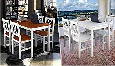 High Quality Simple & Stunning Pine Wood Dining Table Set with 4 Wooden Chairs - low-cost UK light shop.