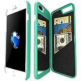 Coque iphone 7 Plus portefeuille avec Miroir pour Les Femmes, Bidear Enfermé Miroir Arrière Cover avec 3 Cartes Bancaires Slot étui Dur pour Apple iPhone 7 Plus et iPhone 6 Plus/ 6s Plus-5.5 pouces(Turquoise)
