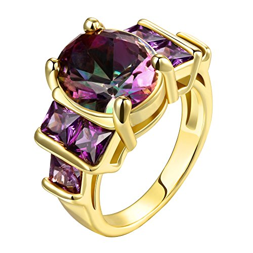 Swarovski gemma taglio smeraldo ametista Personalized Fashion Anelli da donna, taglia 8-10, oro giallo placcato, 22, cod. HRM0003SY10 - Ametista Promise Ring