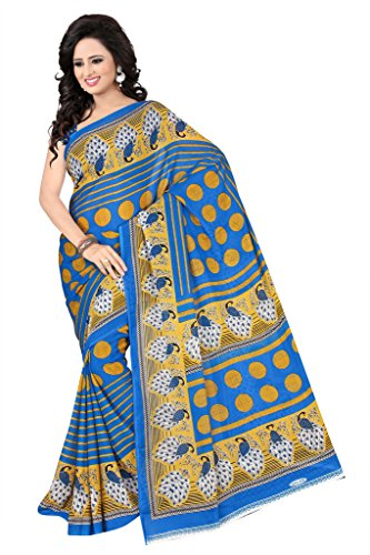 Julee Renial Printed Saree For Women (Sky Blue)  available at amazon for Rs.309