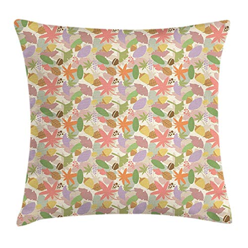 BUZRL Woodland Throw Pillow Cushion Cover, Colorful Leaves from Various Trees Forest Nature Theme Acorns Retro Style, Decorative Square Accent Pillow Case, 18 X 18 inches, Multicolor