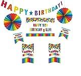 Amscan 241144 Deko-Set Birthday - Primary Rainbow Personalize It