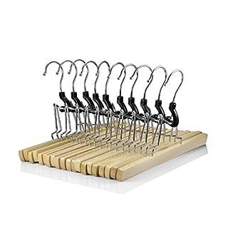 logei® 10 Stück Holz Kleiderbügel Hosenbügel Hosenspanner Hosenklemmbügel Hosenhalter mit Filzeinlage 25 cm lang