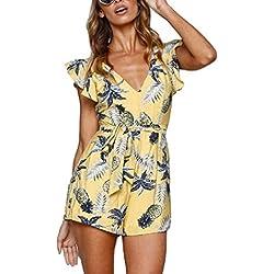 Jumpsuit de las mujeres Vestido de verano de manga corta con estampado de piña Jumpsuit Vestido de playa Jumper Elegante traje corto (Color : Amarillo, tamaño : METRO)