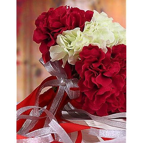 simulazione fiore artificiale Bouquet Nozze Nozze Sposa Fiori di contenimento,Seta simulazione Colth Hydrangea,rosso e bianco