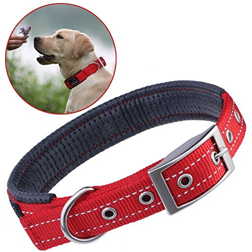reflective-dog-collar-petbabab-padded-metal-buckle-adjustable-training-collar-for-dogs-red