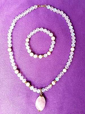 Parure, collier et bracelet quartz rose