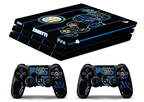Skin Ps4 PRO - INTER ZANETTI - limited edition DECAL COVER ADESIVA Playstation 4 Slim SONY BUNDLE - VINILE LUCIDO