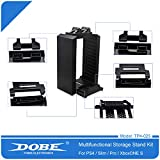 Dobe TP4-025 Multifunctional Disk Storage Stand Kit with DS4 Controller Charging Dock for Playstation 4 PS4 Pro Slim Xbox ONE S