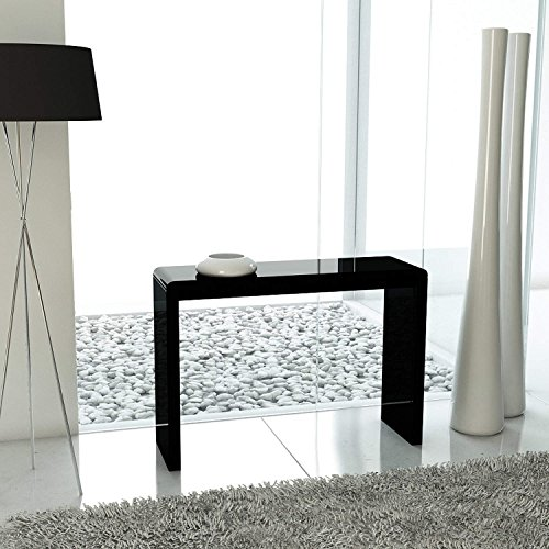 Coffee Table Layers White High Gloss Amazon Co Uk Kitchen: Black High Gloss Narrow Hall Console Table- Modern Design