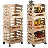 Küchenwagen mit Kiefer massiv, abnehmbar, 3Boxen + 4–Rollen 90x 38x 30cm