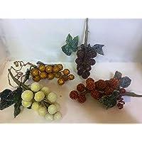 """Set 8 pezzi """"GRAPPOLI UVA ARTIFICIALE"""" , x applicazione albero di NATALE, segnaposto tavolo, panettone, 4 colori misti. (st14707)"""
